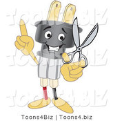 Vector Illustration of a Cartoon Electric Plug Mascot Holding Scissors by Toons4Biz