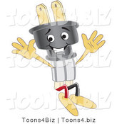 Vector Illustration of a Cartoon Electric Plug Mascot Jumping by Toons4Biz
