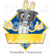 Vector Illustration of a Cartoon Electric Plug Mascot Logo with a Blue Diamond and Gold Banner by Toons4Biz