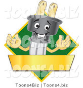 Vector Illustration of a Cartoon Electric Plug Mascot Logo with a Green Diamond and Gold Banner by Toons4Biz