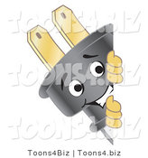 Vector Illustration of a Cartoon Electric Plug Mascot Looking Around a Blank Sign by Toons4Biz