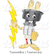 Vector Illustration of a Cartoon Electric Plug Mascot Pointing Outwards by Toons4Biz