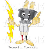 Vector Illustration of a Cartoon Electric Plug Mascot Pointing Upwards by Toons4Biz