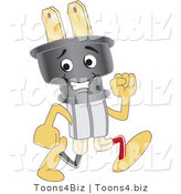 Vector Illustration of a Cartoon Electric Plug Mascot Running by Toons4Biz