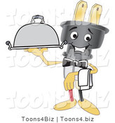 Vector Illustration of a Cartoon Electric Plug Mascot Waiter by Toons4Biz