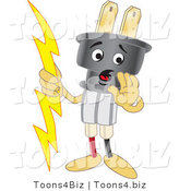 Vector Illustration of a Cartoon Electric Plug Mascot Whispering by Toons4Biz