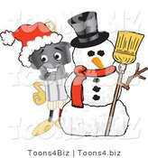 Vector Illustration of a Cartoon Electric Plug Mascot with a Snowman by Toons4Biz