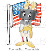 Vector Illustration of a Cartoon Electric Plug Mascot with an American Flag by Toons4Biz