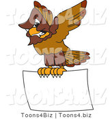 Vector Illustration of a Cartoon Falcon Mascot Character Carrying a Blank Sign by Toons4Biz