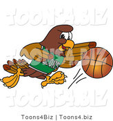 Vector Illustration of a Cartoon Falcon Mascot Character Dribbling a Basketball by Toons4Biz