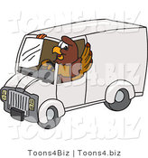 Vector Illustration of a Cartoon Falcon Mascot Character Driving a Delivery Van by Toons4Biz