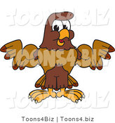 Vector Illustration of a Cartoon Falcon Mascot Character Flexing His Big Muscles by Toons4Biz