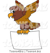 Vector Illustration of a Cartoon Falcon Mascot Character Flying a Blank Sign by Toons4Biz