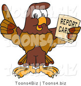 Vector Illustration of a Cartoon Falcon Mascot Character Holding a Report Card by Toons4Biz