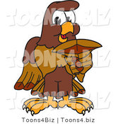 Vector Illustration of a Cartoon Falcon Mascot Character Holding a Shark Tooth by Toons4Biz