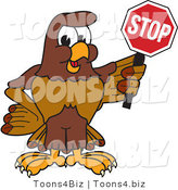 Vector Illustration of a Cartoon Falcon Mascot Character Holding a Stop Sign by Toons4Biz