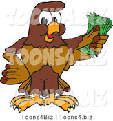 Vector Illustration of a Cartoon Falcon Mascot Character Holding Cash by Toons4Biz