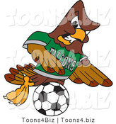 Vector Illustration of a Cartoon Falcon Mascot Character Kicking a Soccer Ball by Toons4Biz