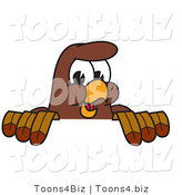 Vector Illustration of a Cartoon Falcon Mascot Character Looking over a Surface by Toons4Biz