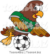 Vector Illustration of a Cartoon Falcon Mascot Character Playing Soccer by Toons4Biz
