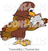 Vector Illustration of a Cartoon Falcon Mascot Character Reading by Toons4Biz