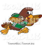 Vector Illustration of a Cartoon Falcon Mascot Character Running with a Football by Toons4Biz