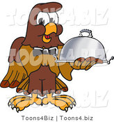 Vector Illustration of a Cartoon Falcon Mascot Character Serving a Platter by Toons4Biz