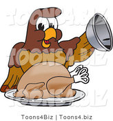 Vector Illustration of a Cartoon Falcon Mascot Character Serving a Turkey by Toons4Biz