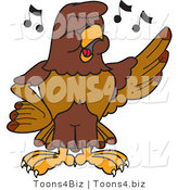 Vector Illustration of a Cartoon Falcon Mascot Character Singing by Toons4Biz