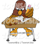 Vector Illustration of a Cartoon Falcon Mascot Character Taking a Quiz by Toons4Biz