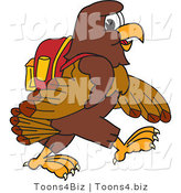 Vector Illustration of a Cartoon Falcon Mascot Character Walking to School by Toons4Biz