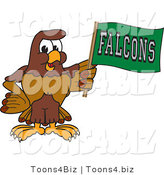 Vector Illustration of a Cartoon Falcon Mascot Character Waving a Falcons Flag by Toons4Biz