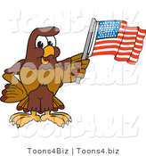 Vector Illustration of a Cartoon Falcon Mascot Character Waving an American Flag by Toons4Biz