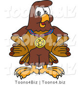 Vector Illustration of a Cartoon Falcon Mascot Character Wearing a Medal by Toons4Biz