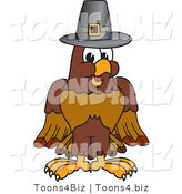 Vector Illustration of a Cartoon Falcon Mascot Character Wearing a Pilgrim Hat by Toons4Biz