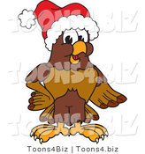 Vector Illustration of a Cartoon Falcon Mascot Character Wearing a Santa Hat by Toons4Biz