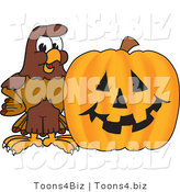 Vector Illustration of a Cartoon Falcon Mascot Character with a Pumpkin by Toons4Biz