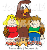 Vector Illustration of a Cartoon Falcon Mascot Character with Children by Toons4Biz
