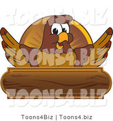 Vector Illustration of a Cartoon Falcon Mascot Character Wooden Plaque by Toons4Biz