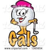 Vector Illustration of a Cartoon Female Golf Ball Sports Mascot over Gals Text by Toons4Biz