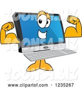 Vector Illustration of a Cartoon Flexing Strong PC Computer Mascot by Toons4Biz