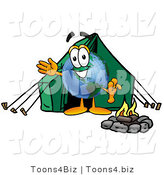Vector Illustration of a Cartoon Globe Mascot Camping with a Tent and Fire by Toons4Biz