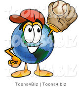 Vector Illustration of a Cartoon Globe Mascot Catching a Baseball with a Glove by Toons4Biz