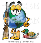 Vector Illustration of a Cartoon Globe Mascot Duck Hunting, Standing with a Rifle and Duck by Toons4Biz