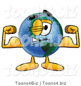 Vector Illustration of a Cartoon Globe Mascot Flexing His Arm Muscles by Toons4Biz