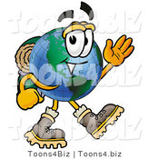 Vector Illustration of a Cartoon Globe Mascot Hiking and Carrying a Backpack by Toons4Biz
