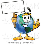 Vector Illustration of a Cartoon Globe Mascot Holding a Blank Sign by Toons4Biz