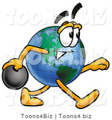 Vector Illustration of a Cartoon Globe Mascot Holding a Bowling Ball by Toons4Biz