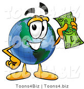 Vector Illustration of a Cartoon Globe Mascot Holding a Dollar Bill by Toons4Biz