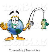 Vector Illustration of a Cartoon Globe Mascot Holding a Fish on a Fishing Pole by Toons4Biz